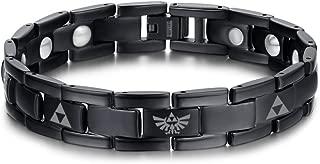 Titanium The Legend of Zelda Triforce Symbol Magnetic Therapy Adjustable Bracelet for Men Boy,Black