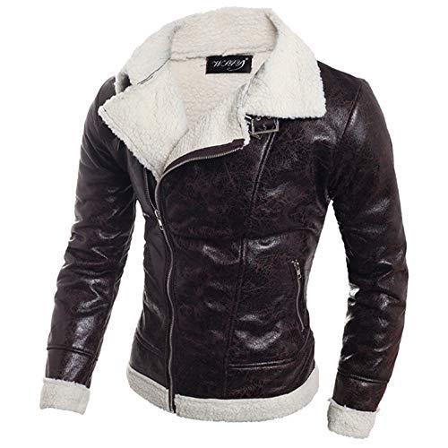serliy😛Herren Lederjacke Parka Pelz Liner Revers Leder Jacke Mantel Herbst Winter Outwear Top Coat Bluse Warm Atmungsaktiv Bequem Biker Jacke Motorrad Jacke