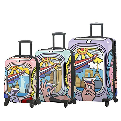 Mia Toro Italy-Jozza Airplane Hardside Spinner Luggage 3 Piece Set, JZA