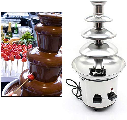 TBVECHI 4-Tier Chocolate Fondue Fountain Commercial Stainless Steel Chocolate Fountain Cheese Heated Melting Machine 170W for Party Restaurant Wedding