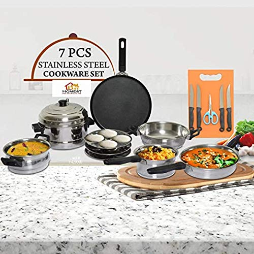 HOMEST 7 PCS Stainless Steel Induction Friendly COOKWARE Set with Knife and Chopping Board