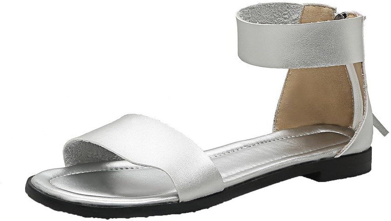 WeenFashion Women's Pu Low-Heels Open-Toe Solid Zipper Sandals, AMGLW009770