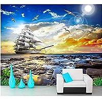Bosakp カラフルな夕日の風景の滑らかで美しい風景テレビの背景カスタムリビングルームベッドルーム3 D壁紙 100X50Cm