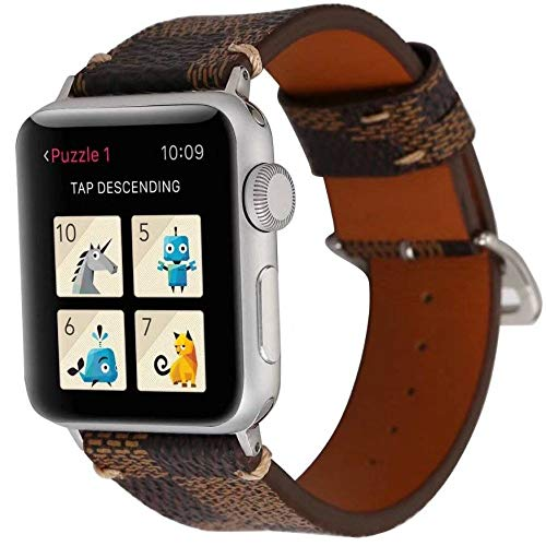123Watches.nl - Apple watch leren grid band - bruin - 38mm en 40mm