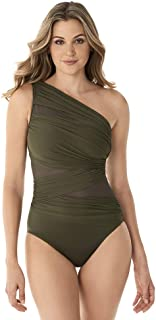 Miraclesuit Women's Swimwear Network JENA Asymmetrical Neckline Tummy Control One Piece Swimsuit