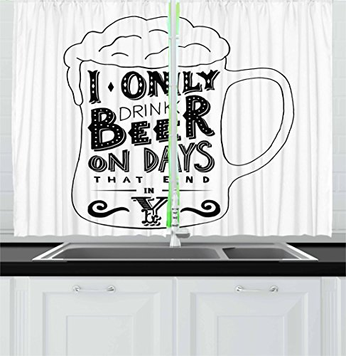 Ambesonne Man Cave Kitchen Curtains, Vintage Style Design and Foamy Beer Hipster Calligraphic Retro Art Joke, Window Drapes 2 Panel Set for Kitchen Cafe Decor, 55' X 39', Black and White
