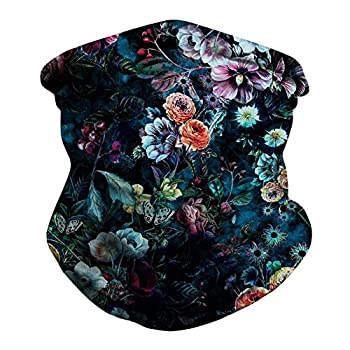 Unisex Seamless Rave Bandanas Balaclavas Flower Print UV Headwrap Tube Neck Gaiter Scarf for Dust Outdoors Sports Black - Flower 02 One Size