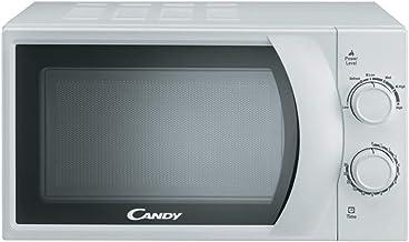 Candy CMW 2070 M Microondas, Capacidad 20L, 2 Mandos mecánicos, Plato giratorio 24,5cm, 6 Niveles de potencia, 700 W, 20 litros, Acero Inoxidable, Blanco