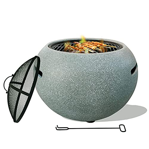 BAIYAN small firepit, Fire Pit Table with BBQ Grill Shelf, 3 in 1 Square Firepit for Barbecue, Heater, with an Edging of MgO Artificial Stone BBQ Grill and Spark Screen with Poker