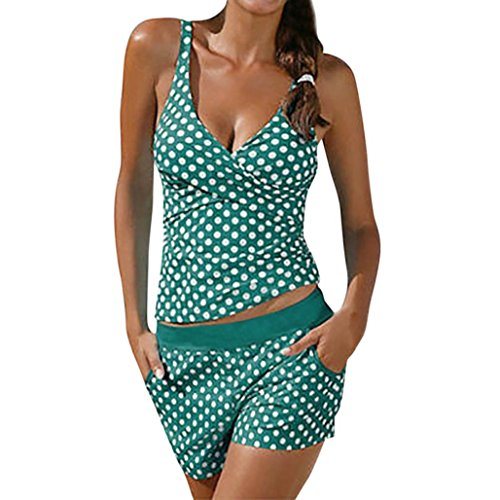 OverDose Damen Übergröße Punktdruck Bikini Sets Frauen Tankini Badeanzug Bikini Beachwear Bademode Gepolsterte Push Up Badeanzug(Grün,S)