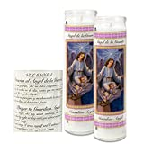 Catholic Prayer Candles - Set Of 2 Religious Candles - Real Wax (White Poured, Unscented) Candles - Extra Long Burn Time - Prayer Printed On Each Candle - Church Vigil Devotional [BUNDLE, 2 Pcs.] (Guardian Angel)