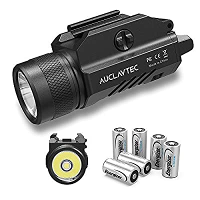 AUCLAYTEC Gun Light 1200 Lumens Compact Pistol Light LED Tactical for Picatinny MIL-STD-1913 and Glock Pistol Weapon Light with Cree XML2 LED 6 x CR123A Lithium Batteries…