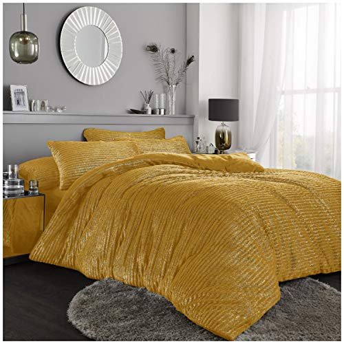 Easy Care Teddy Chunky Rib with Glitter Duvet Set With Pillowcases, Shiny Stripe Fleece Quilt Set, Double Size, Ochre