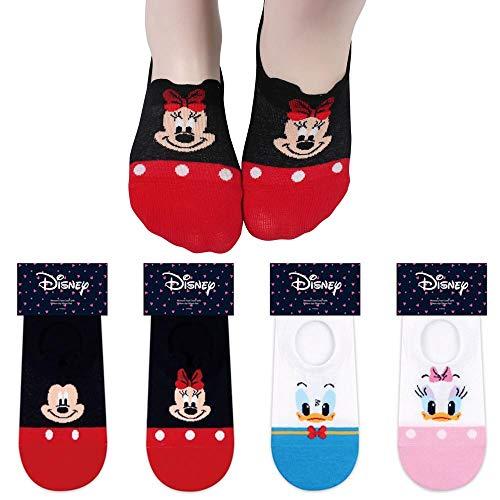 Charakter Damen Keine Show Socken 4 Paaren - Mickey Maus, Minnie Maus, Ente Donald, Ente Daisy