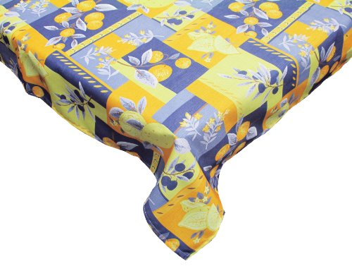 J&M Home Fashions Waterproof Spill Proof Vinyl Printed Tablecloth, 52x70, Season, Indoor, Outdoor Picnics & Potlucks Party Party or Everyday Use-Lemons