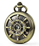 SEWOR Retro Delicate Gear Type Pocket Watch with Two Chains Leather & Metal (Bronze)