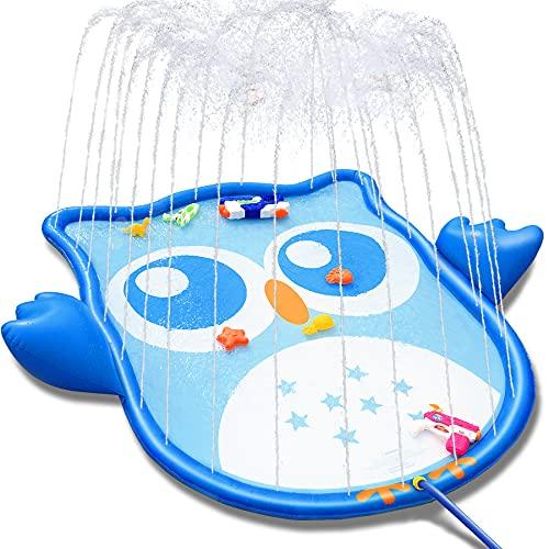LETOMY Splash Pad, Eulenform Sprinkler Play Matte für Kinder, Aufblasbare 177-cm-Wasser-Spielmatte für den Sommergarten Outdoor Party Fun Sprühspielzeug für Jungen Mädchen Kleinkinder