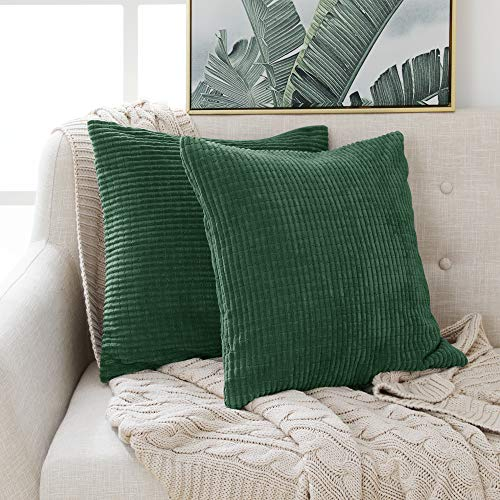 Deconovo Home Decorative Sets of 2 Corduroy Grid Solid Cushion Covers Square Throw Pillow Cases for Sofas Seats 45cmx45cm 18x18 Inches Dark Green 2 Pieces