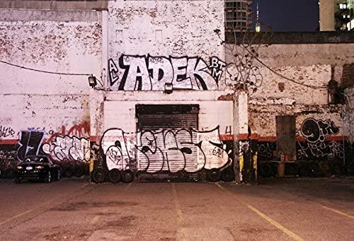 Fondos de fotografía de Interiores de habitación desierta de Graffiti Fondos fotográficos de Pared de Cemento de ladrillo para Estudio fotográfico A8 9x6ft / 2,7x1,8 m