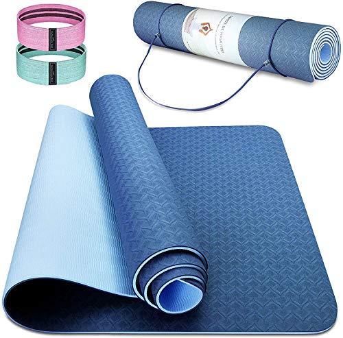 Esterilla Deporte Antideslizante Estera Yoga Colchonetas Pilates Mat Fitness Ecológica TPE para Entrenamiento de Gimnasia 183x61cm, con Correa Y 2 Bandas Elasticas