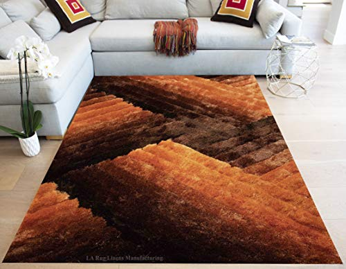 Light Orange Dark Orange Rust Brown 8 Feet by 10 Feet 3D Carved Pattern Plush Shag Shaggy Large Thick Furry Fuzzy Rectangle Decorative Designer Pile Soft Modern Area Rug Carpet Rug