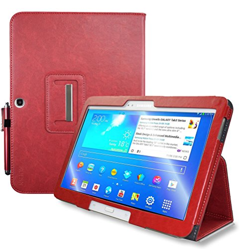 Kuesn for Samsung Galaxy Tab 4 10.1 SM-T530 T531 Book Cover Case and Tab 3 10.1 GT-P5200 P5210 Tablet Folio Flip Book Cover Case with Magnet Closured (Red)