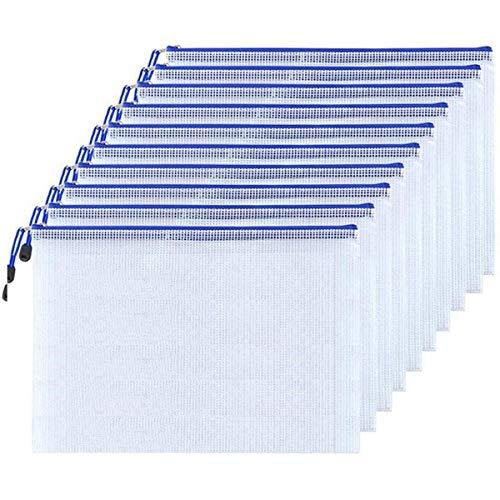 Feilikaジッパー式ファイルバッグ PVC製ファイルケース クリアファイル 半透明 防水&耐油 出張収納 書類整理 メモ コイン 旅行 アクセサリー 化粧品の保管ファイルホルダー 10個入りセット (B5(29*20.5CM))