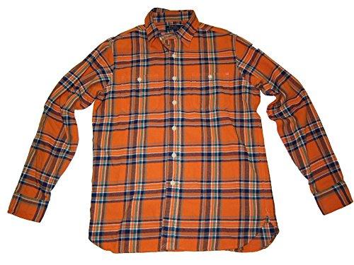 Ralph Lauren Polo Mens Flannel Button Down Shirt Orange Plaid (Medium)