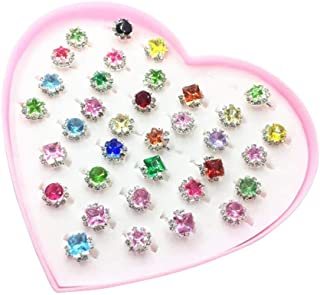 Flyme 36pcs Child Rings Set, Colorful Rhinestone Rings Set Gift with Heart-Shaped Boxes for Kids(Random Pattern)