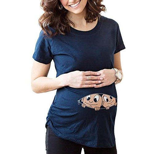 Camiseta de maternidad de manga corta divertida del embarazo de la camiseta linda del bebé embarazada de las mujeres camisetas