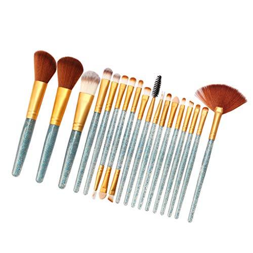 T TOOYFUL 18xLip Balm Maquillage Pinceaux Poudre Liquide Crème Cosmétique Mélange Pinceau Outil - Bleu-doré