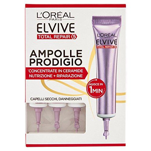 l Oréal Paris Elvive Total Repair 5 Ampolle Prodigio, Siero per Capelli Secchi o Danneggiati, Confezione da 3 Pezzi
