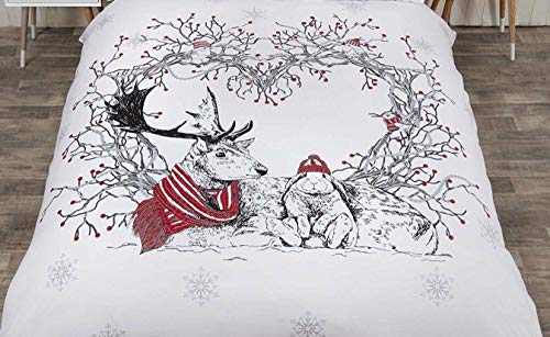 Bedding Heaven FESTIVE STAG and FRIENDS DUVET COVER SET. Reindeer, Bird, Rabbit, Squirrel. CHRISTMAS. KING SIZE - RED