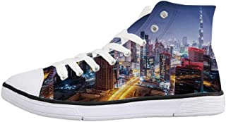 City Stylish High Top Canvas Shoes,Hong Kong Island from Kowloon Vibrant View Water Reflection Modern China for Men & Boys,US 6.5