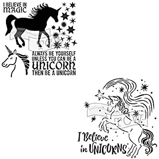 Crafter's Workshop Stencil 2 Pack, Reusable Stenciling Templates for Art Journaling, Mixed Media, and Scrapbooking, TCW738 Unicorn & TCW818 Believe in Unicorn