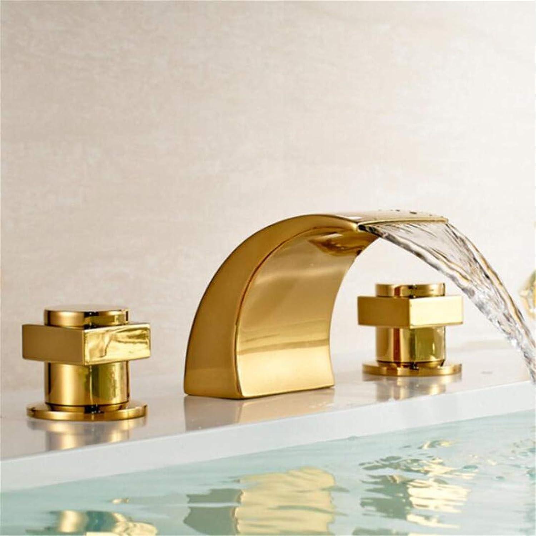 Wasserhahn Waschtischmischer Badezimmer Goldplatte Doppelgriff Waschbecken Wasserhahn Wasserfall Becken Wasser Mischbatterie