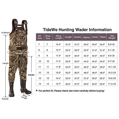 TideWe Chest Wader, Camo Hunting Wader For, Waterproof Cleated Neoprene Bootfoot Wader 11 Camo