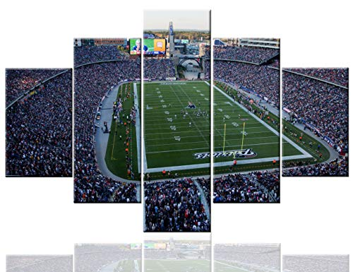 TUMOVO Art Work for Home Walls Stadium Pictures Foxborough, MA,USA Paintings 5 PCS/Multi Panel Canvas Artwork Home Decor for Living Room Framed Framed Ready to Hang Posters and Prints(60''Wx40''H)