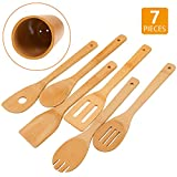 Bamboo Wooden Spoons & Spatulas Set - 6 Pieces Kitchen Cooking Utensils and 1 Holder, Heat Resistant...