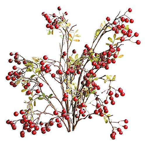 4 Pack Artificial Red Berry Stems Holly Christmas Berries for Festival Holiday Crafts and Home Decor, 27 Inches Burgundy Berry Floral Christmas Tree Decorations