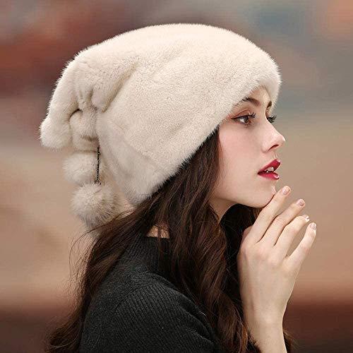 Miwaimao Elegante cappello Cloche, berretto invernale in pelliccia profonda coffee_L, Pompom a costine inverno caldo cappello caldo, pasta di fagioli rossi, piccolo