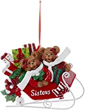 Two Sister Bears On Sled Rosy Red 3 inch Resin Stone Christmas Figurine Ornament