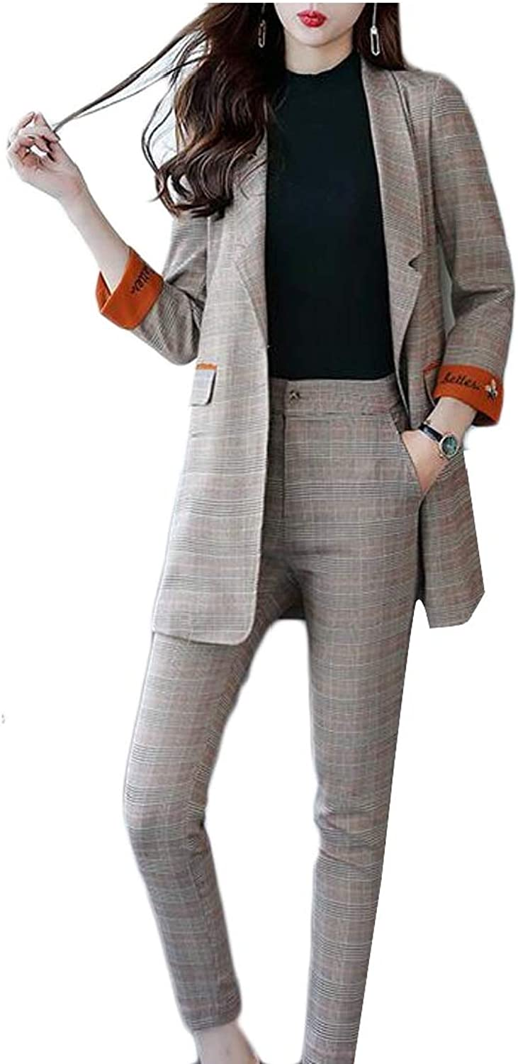 GenericWomen Plaid One Button Long Sleeve Blazer Pants Suit Set