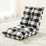 Mozusa Living Juego de interior al aire libre asiento ajustable estructura de la silla de habitaciones cojines de respaldo de acero Tela gran sofá perezoso plegable Sofá Silla de algodón de lino Puf f
