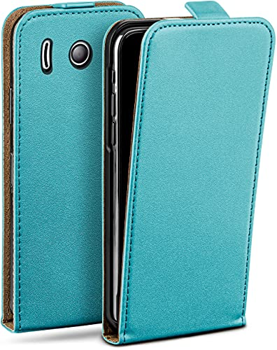 moex Flip Hülle für Huawei Ascend Y300 - Hülle klappbar, 360 Grad Klapphülle aus Vegan Leder, Handytasche mit vertikaler Klappe, magnetisch - Türkis