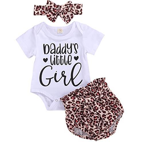 Pijama para recién nacido de Piolín de CIPOGL, con estampado de letras, manga corta, bodysuit y pantalones cortos de leopardo, con cinta para la frente, 3 piezas blanco 12-18 Meses