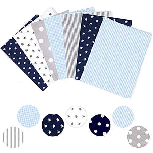50 x 50 cm cuadrados de tela cuadrados, 7 piezas de tela de algodón tejido apretado para manualidades, costura de ropa acolchada.
