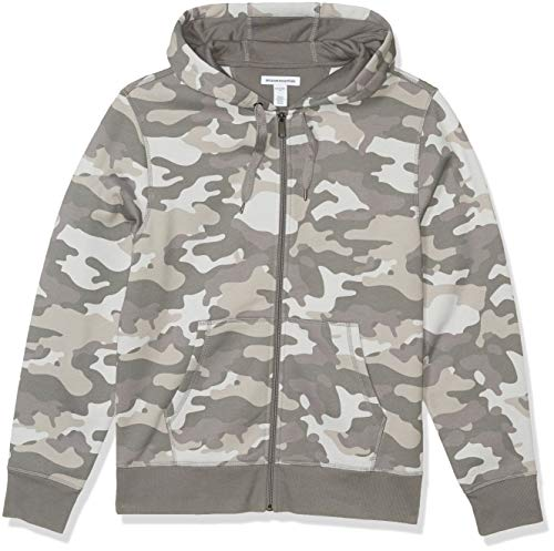 Amazon Essentials Men's Full-Zip Hooded Fleece Sweatshirt, Grey Camo Large