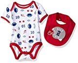 Bon Bebe Baby Boys' 2 Piece S/s Lap Shoulder Bodysuit and Bib Set, Born Wine red, 6-9 Months