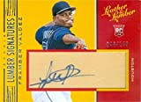 Autograph Warehouse 637927 Framber Valdez Autographed Player Used Bat Patch Baseball Card - Houston Astros - 2019 Panini Leather & Lumber Rookie No.114 LE 48... rookie card picture